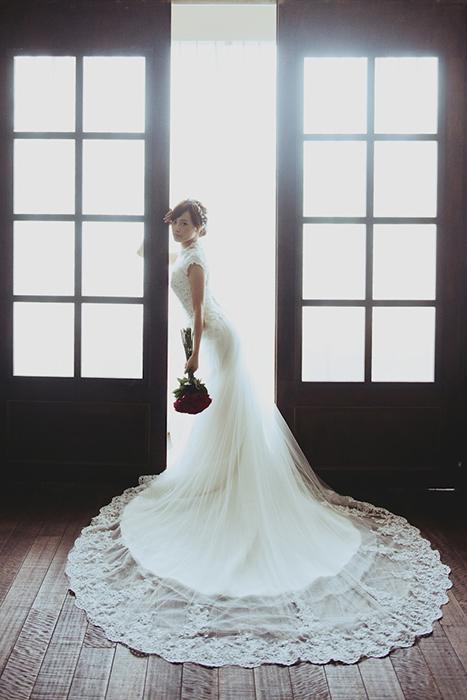 愛瑞思,Ariesy,愛瑞思造型團隊,自助婚紗,瑪哲,長頭紗,復古旗袍造型,鮮花造型,編髮,清透妝感