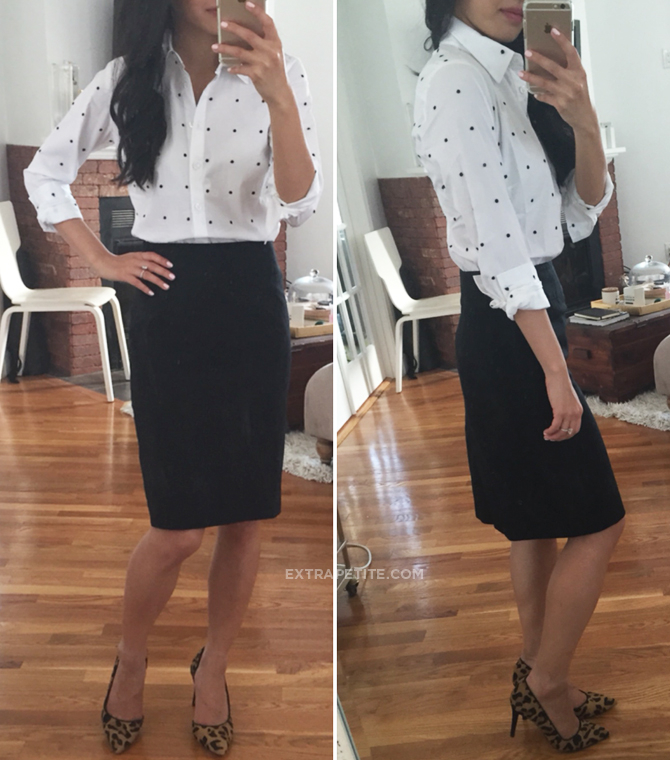 Ann Taylor dot shirt office outfit