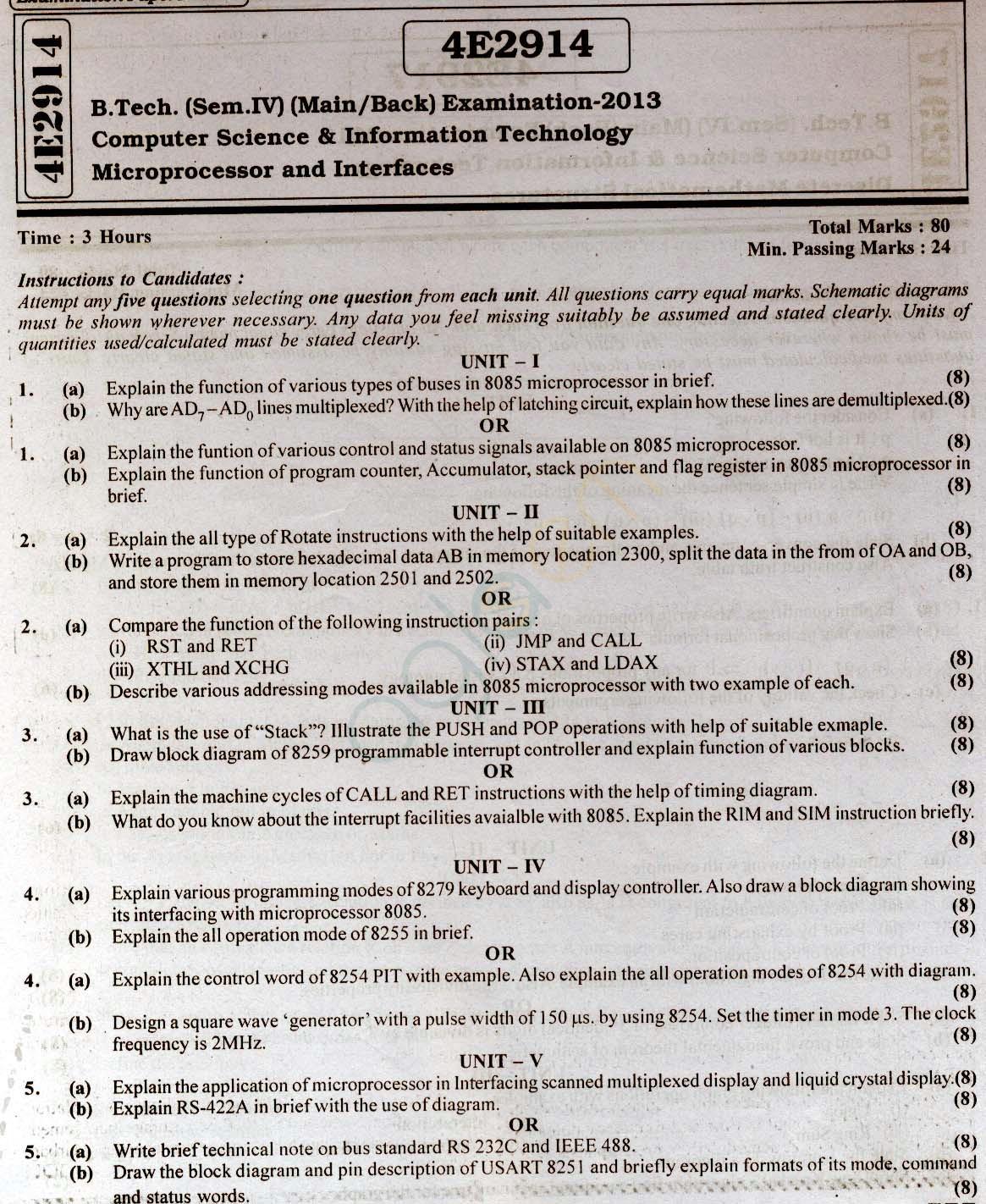 RTU: Question Papers 2013 - 4 Semester - CS & IT - 4E2914