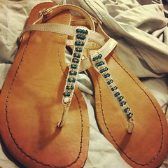 Repurposed a pair of sandals that were starting to fall apart #crafty