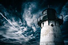 cloud, lighthouse, darkness, blue, tower, sky,