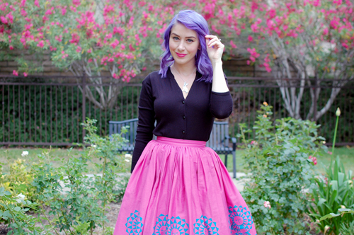 Pinup Girl Clothing Jenny skirt in Mary Blair Mother and Child print