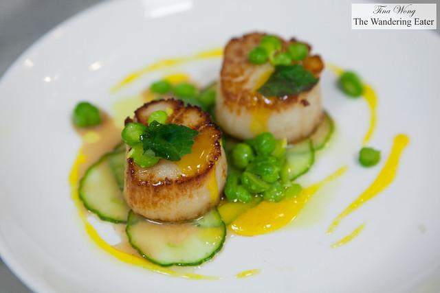 Seared scallops, salted cucumber, green chickpeas, lemon curd