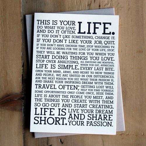 Holstee Manifesto Letterpress Card