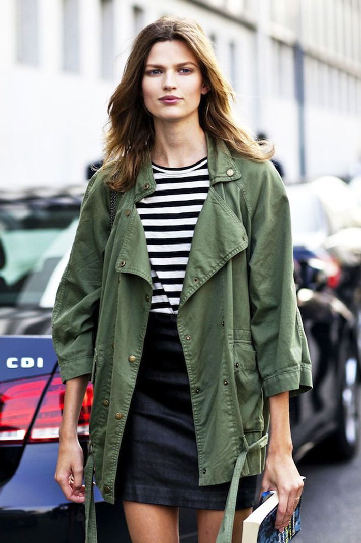 Military style green olive street style inspiration03