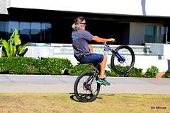 unicycle(0.0), bmx bike(0.0), flatland bmx(0.0), extreme sport(0.0), bicycle motocross(1.0), wheel(1.0), vehicle(1.0), sports(1.0), freestyle bmx(1.0), leisure(1.0), cycle sport(1.0), bmx racing(1.0), stunt performer(1.0), land vehicle(1.0), bicycle(1.0),