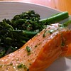 Broccolini & pink salmon #FighterDiet #eating out ~ chef was very accommodating :yum: #nom #foodporb