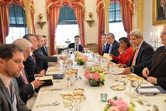 U.S. Secretary of State John Kerry, with Ambassador Susan Rice, the President's National Security Advisor, hosts a working dinner for NATO Secretary General Jens Stoltenberg at the U.S. Department of State in Washington, D.C., on May 27, 2015. [State Department photo/ Public Domain]