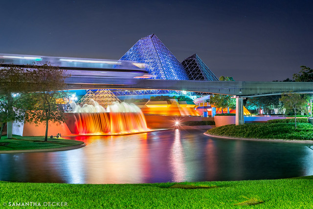 Monorail Passes by the Imagination Pavilion at EPCOT