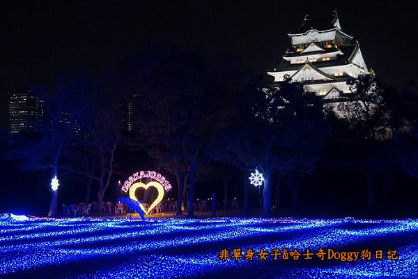 日本大阪城公園梅林城天守閣3D光之陣01