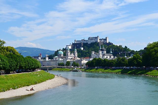 Salzburg old town above the Salzach River, Austria