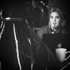 haiR & eYes #blacknwhite #blackandwhite #blacknwhitephotography #creativephotography #eyes #hair #coffeeshop #café #beanscene #downtownkelowna #friends #life #love #kelowna