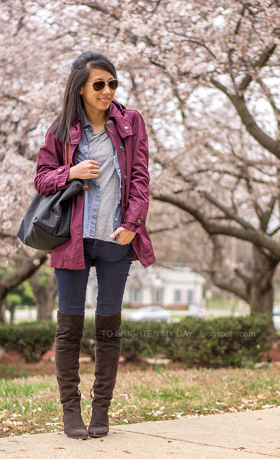 burgundy jacket, chambray shirt, gray tee, brown suede over the knee boots