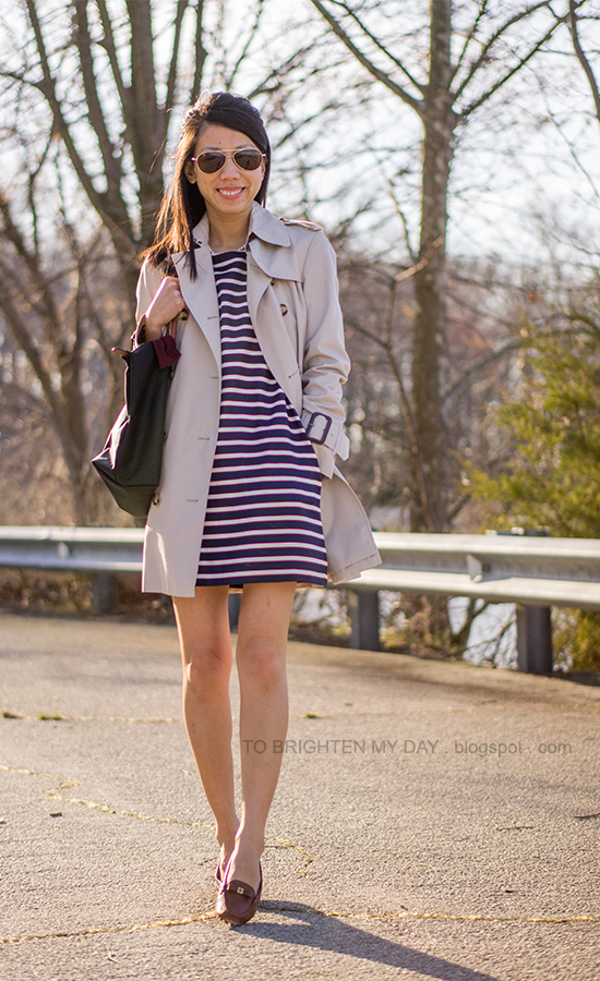 trench coat, striped dress, brown loafers