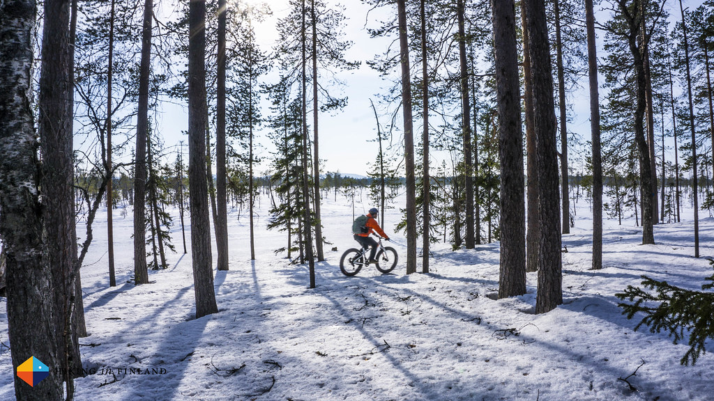 Artturi Kröger fatbiking in Pyhä-Luosto National Park