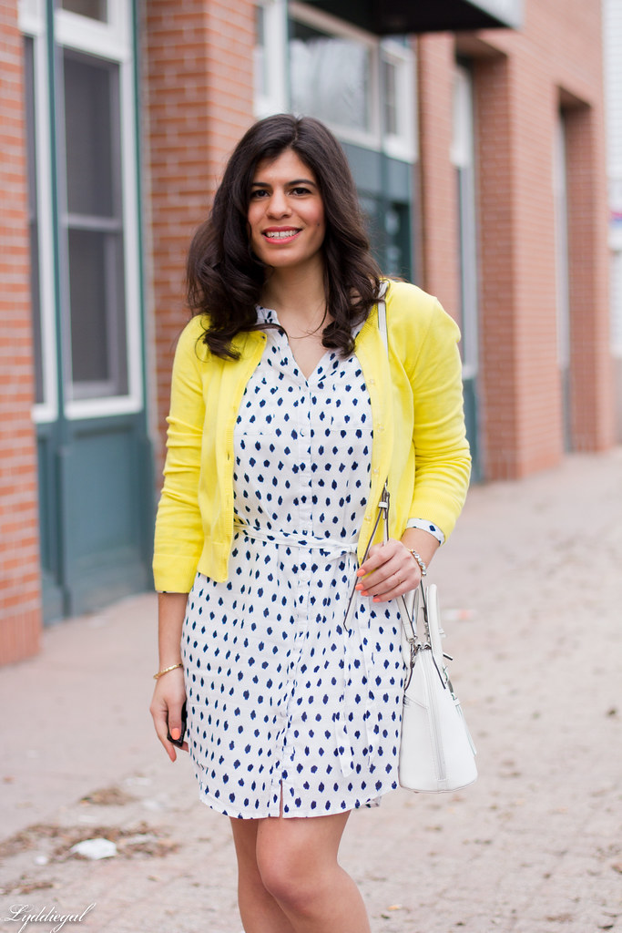 polka dot shirt dress, yellow cardigan, silver pumps-4.jpg