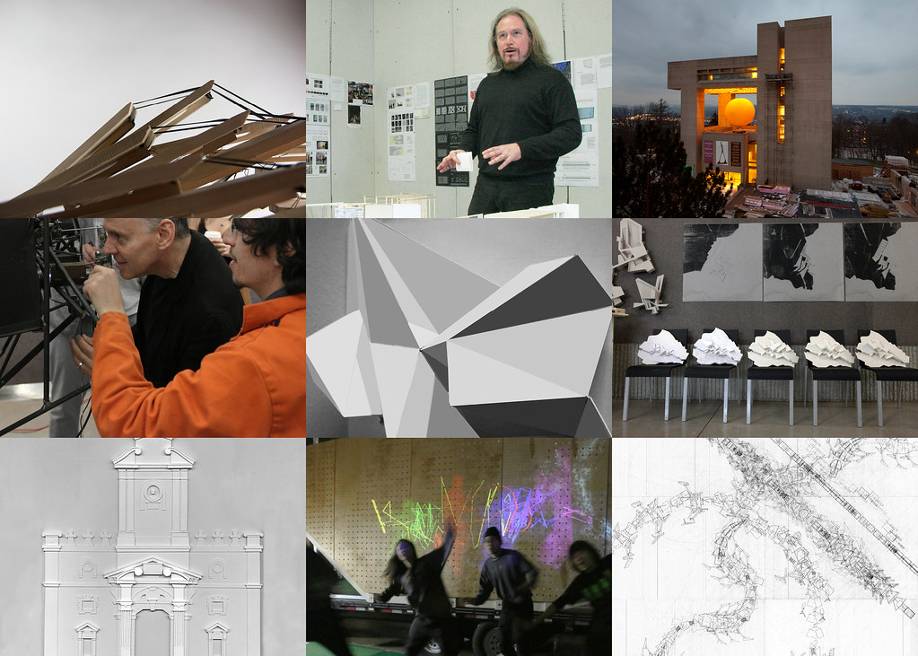 Image collage of the projects and people of the Cornell AAP Department of Architecture.