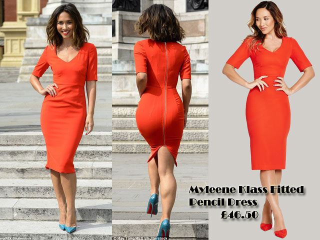 Myleene-Klass-Fitted-Pencil-Dress, work chic, how to style a pencil dress, red pencil dress, zip dress, v-neck dress, v-neck pencil dress