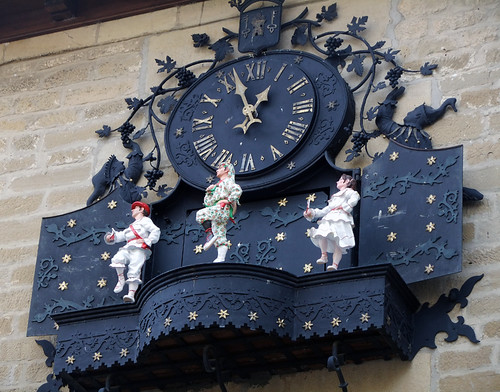 Dancing clock in Laguardia in Rioja in northern Spain