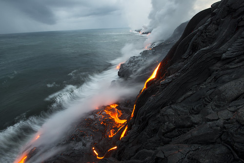 Lava flowing into the ocean on the Big Island of Hawaii in 2013 | by peterbryan718