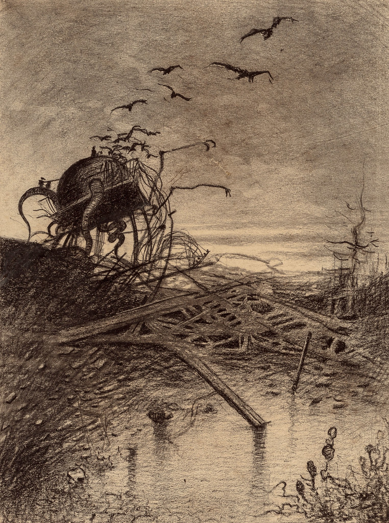 "HENRIQUE ALVIM CORRÊA -Wrecked Martian Handler, from The War of the Worlds, Belgium edition, 1906 (illustration from Book II - The Earth Under the Martians, Chapter VIII - ""Dead London,"")"