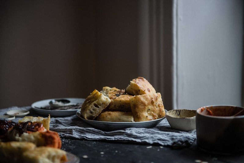 herbed focaccia with caramelized onions & romesco | two red bowls