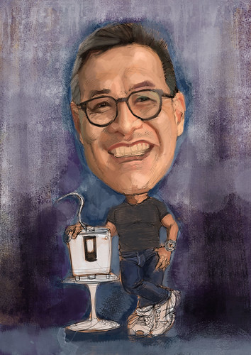 Bernard Chan digital caricature painting with Kangen 8 - 2a