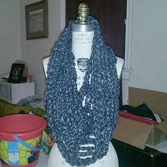 Yesterdays project. #fingercrochet metallic gray mesh cowl. #icrochet #crochet #madeinthedmv #fashion  #shopsmall #homemade #style #