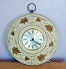 Vintage Tole Painted Beige and Gold Sessions Electric Wall Clock