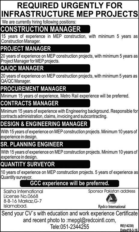 Required Urgently for Infrastructure MEP Projects