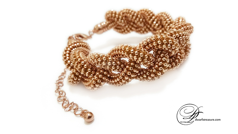 Braided thin rose gold beaded bracelet