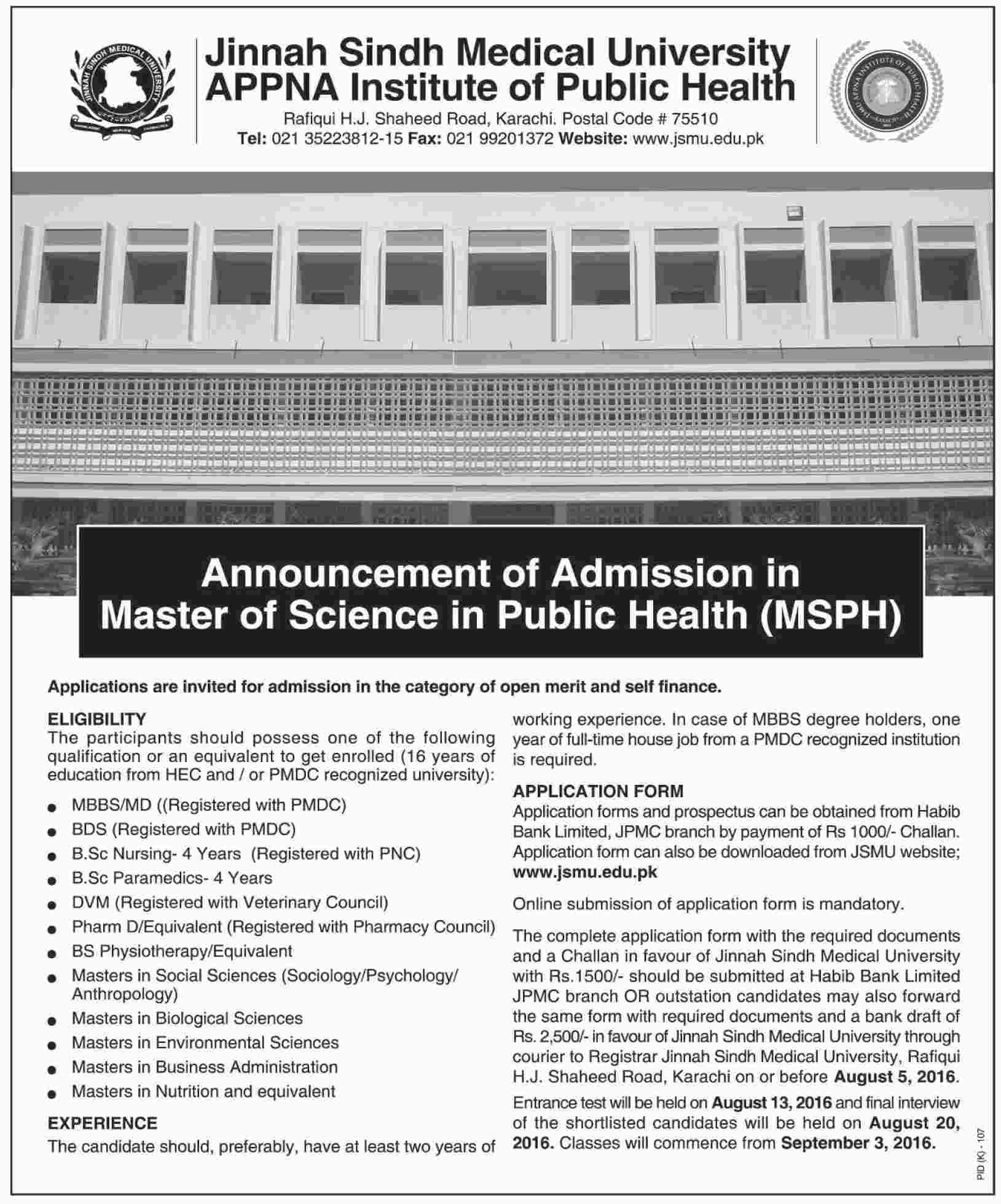 Jinnah Sindh Medical University Karachi Masters Admissions