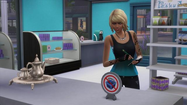 Lexi restocking her bakery