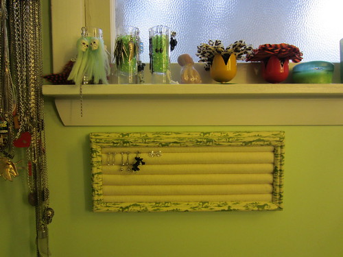 fabric-covered earring rack