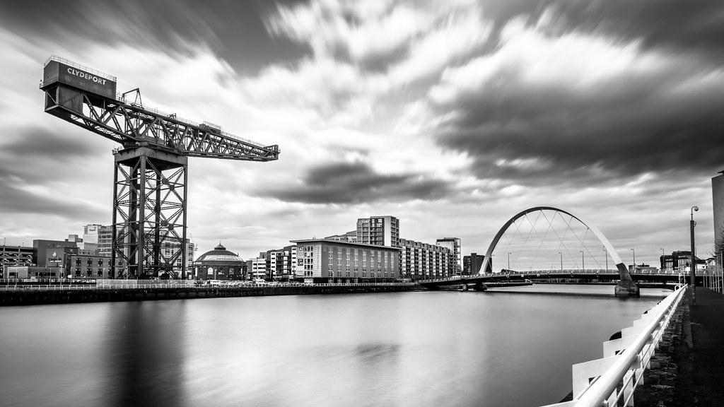 Clyde arch glasgow scotland black and white cityscape photography