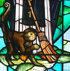St Martin de Porres's monkey (detail) by John Lawson, 1974
