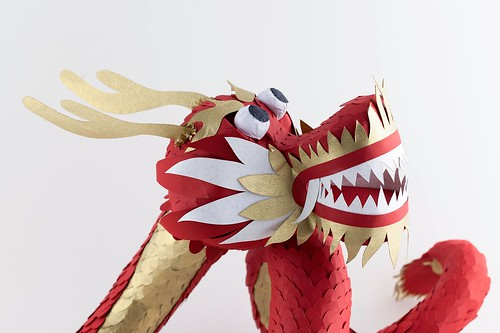Paper Sculpture Chinese Dragon by Julianna Szabo