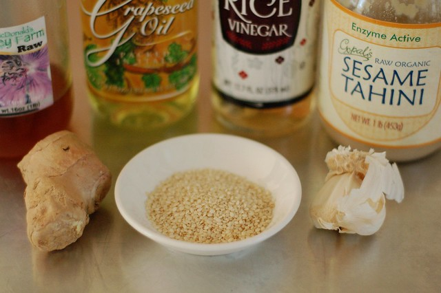 Ingredients for tahini-ginger-sesame dressing by Eve Fox, the Garden of Eating, copyright 2015