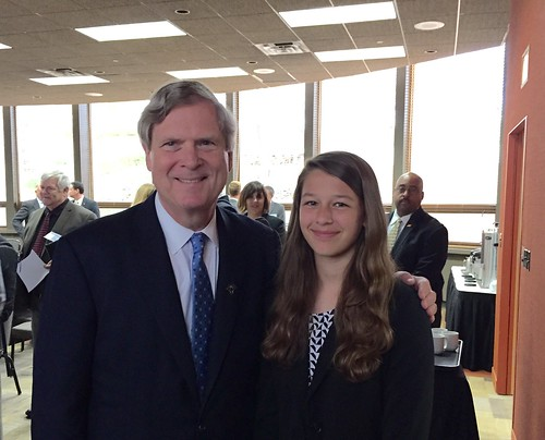Ellie Hohenstein in Michigan with Agriculture Secretary Tom Vilsack. (USDA photo)