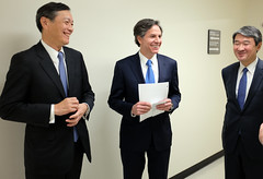 Deputy Secretary of State Tony Blinken shares a laugh with Japanese Vice Foreign Minister Akitaka Saiki and Republic of Korea Vice Foreign Minister Cho Tae-yong following their trilateral meetings at the U.S. Department of State in Washington, D.C., on April 16, 2015. [State Department photo/ Public Domain]