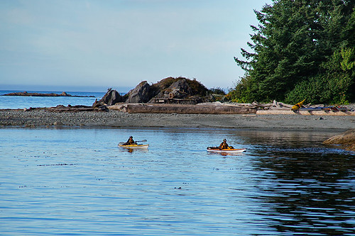 Kayakers on Brooks Peninsula, North Vancouver Island, British Columbia. Photo: Santa Brussouw.