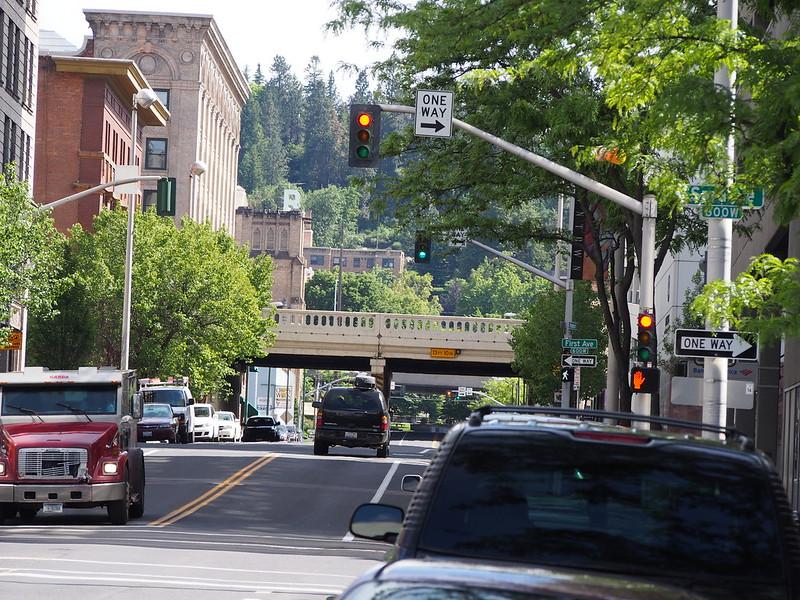 Spokane: The railroad mainline runs over the bridge in the distance.