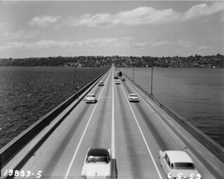 Cars on I-90 floating bridge, 1959