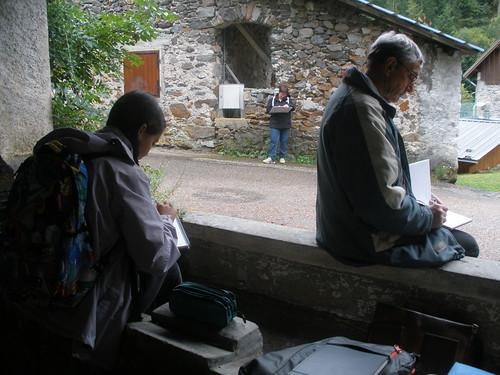 Initiation au rando croquis lors des journées de patrimoine à Valjouffrey