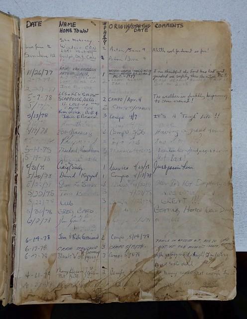 1970s  PCT hiker registry