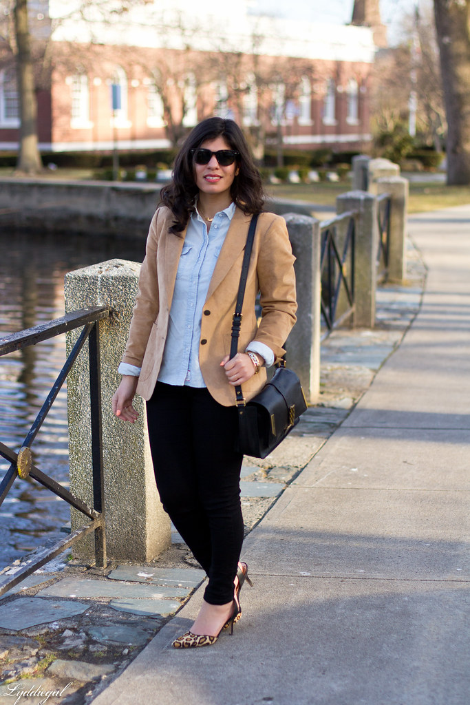 camel blazer, chambray shirt, black jeans, leopard pumps-1.jpg