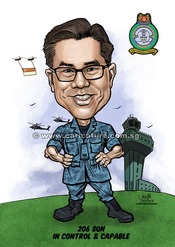 PC Chan digital caricature for Singapore Air Force (watermarked)