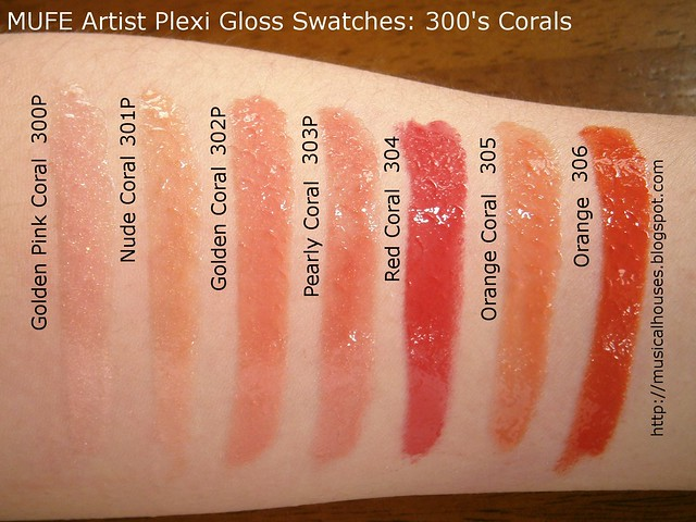 MUFE Artist Plexi Gloss Swatches 300s shades