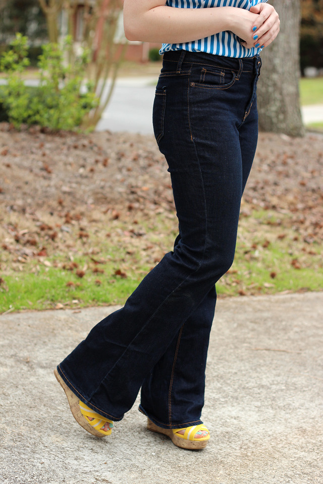 Dark Wash High Waist Bell Bottom Jeans from Old Navy and Yellow Wedges