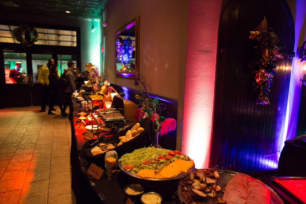 Food spread at Mardi Gras Party